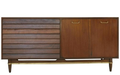 American of Martinsville Walnut and Brass Credenza