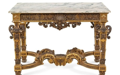 An Italian Carved Giltwood Marble-Top Center Table