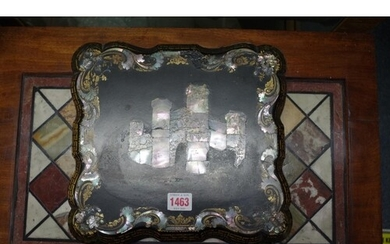 An antique mother-of-pearl and gilt decorated rectangular ga...