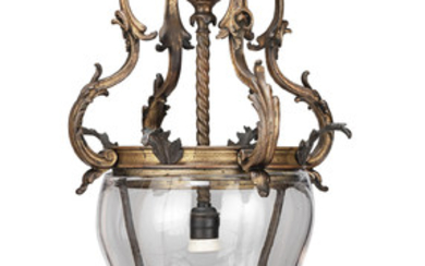 An early 20th century French gilt bronze and blown glass hall lantern