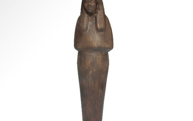 Ancient Egyptian Wood Wooden Shabti, 21st-22nd Dynasty
