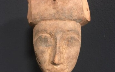 Ancient Egyptian Wood sarcophagus mask, 24,7 cm