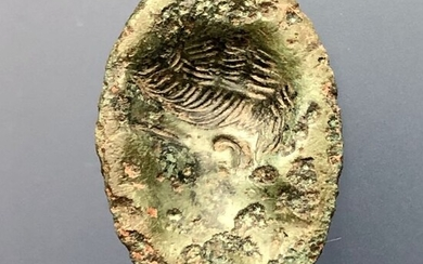 Ancient Roman Bronze Important Bezel engraved with image of young Octavian Augustus with exceptional Portrait. (See Text)