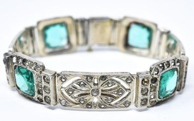 Antique Edwardian Style Sterling & Paste Bracelet