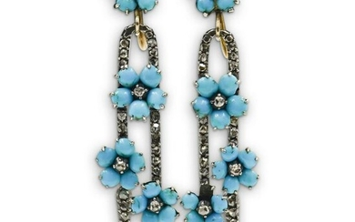 Antique Gold & Turquoise Ladies Earrings