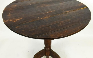 Antique Pine Carved Plank Style Flip Top Table