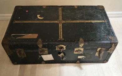 Antique Steamer Trunk W Shipping Labels