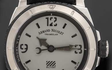 """Armand Nicolet - Automatic S05-3 Diver Grey Military Black Hand Made Calf Leather Strap Swiss Made- A713PGN-GN-PK4140NR """"NO RESERVE PRICE"""" - Men - Brand New"""