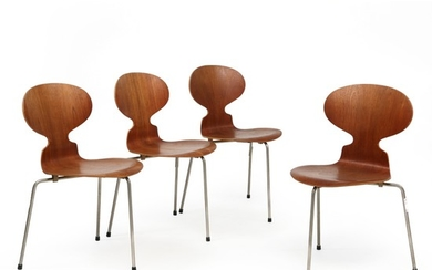 """Arne Jacobsen: """"Ant Chair"""". Set of four three legges chairs with frame of steel. Seat and back of moulded teak. Manufactured by Fritz Hansen. (4)"""