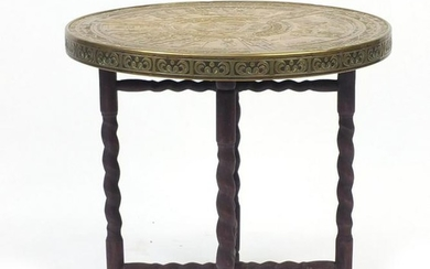 Arts & Crafts Egyptian Revival folding table, the brass