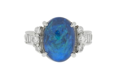 Blue Opal and Diamond Ring