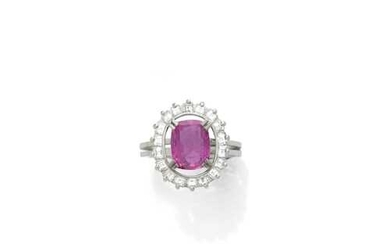 CEYLON PINK SAPPHIRE AND DIAMOND RING, ca. 1970.