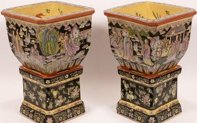 CHINESE CERAMIC POTS ON STANDS, PAIR