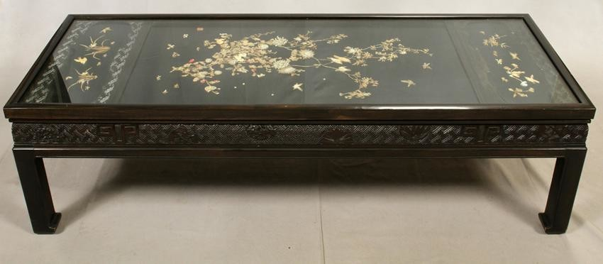 CHINESE SANDALWOOD COFFEE TABLE, 19TH C