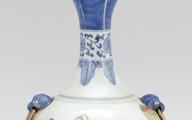 CHINESE UNDERGLAZE BLUE AND FAMILLE VERTE BOTTLE VASE Ovoid, with garlic-form mouth, lion's-head mock ring handles at shoulders, and..