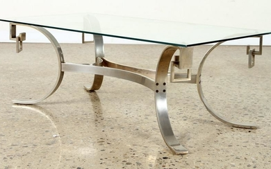 CHROME OVER BRONZE GLASS TOP COFFEE TABLE C.1950