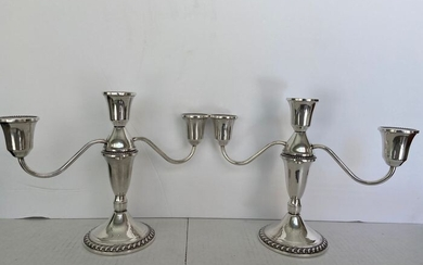 Candelabrum, A pair of sterling silver 3 lights candelabra candle holders Duchin Creation USA (2) - .925 silver - Duchin creation - U.S. - Mid 20th century