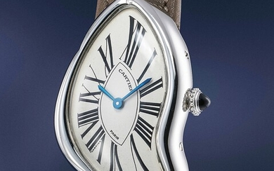 Cartier, An extremely rare and highly attractive asymmetrical platinum wristwatch
