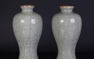 Celadon colored porcelain crackle meiping vase late 19th century (2) - Porcelain - China - 19th century
