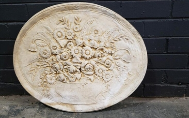 Ceramic Wall Plaque depicting Floral Still Life (h:56 x w:69cm)