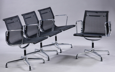 Charles Eames. A set of four lounge chairs in black mesh fabric, Model 108 (4)