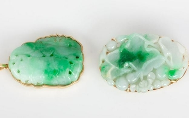 Chinese 14kt Gold and Green Jadeite Pendant and Brooch