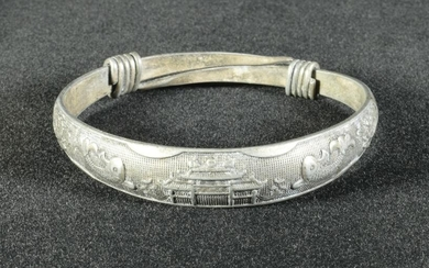 Chinese 990 Silver Bangle, 20th Century
