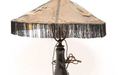Chinese Dragon Etched Boudoir Lamp, 1920s