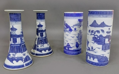 Chinese Porcelain Canton Candlesticks