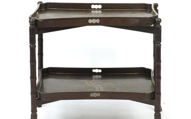 Chinese lacquered tray table with faux bamboo stand,
