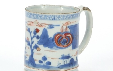 Chinese porcelain mug hand painted with a continuous landsca...