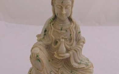 Chinese white jade carved figurine of Guanyin on customary...