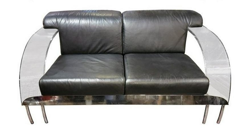 Contemporary Modern Italian Lucite, Chrome and Leather
