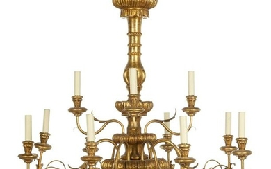 Continental Giltwood and Gilt-Metal Chandelier