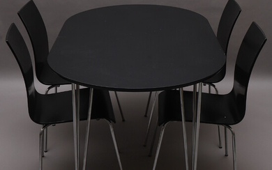 DINING FURNITURE, table & 4 chairs, contemporary.
