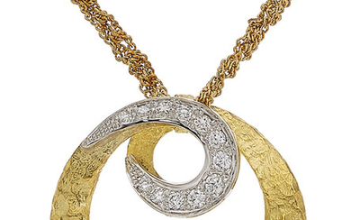 Diamond, Gold Pendant-Necklace The pendant features full-cut diamonds weighing...