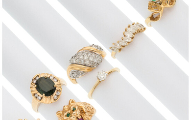 Diamond, Multi-Stone, Gold Rings The lot includes seven rings;...