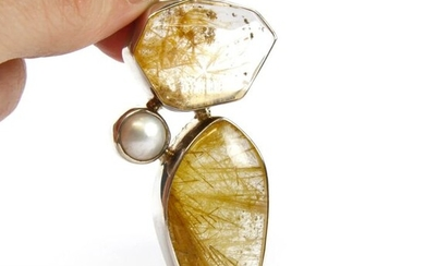 Double Rutilated Quartz casting on Silver Pendent with natural Pearl 925 silver pendant - 79×27.3×11.2 mm - 31.2 g