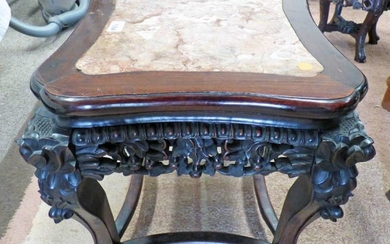 EARLY 20TH CENTURY CHINESE CARVED HARDWOOD PLANT STAND WITH...