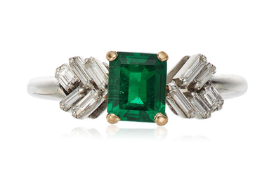EMERALD AND DIAMOND RING WITH GIA REPORT
