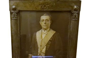 Early 20th century pewter masonic framed portrait, the archi...