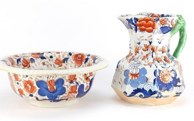 Early Victorian Masons ironstone jug and bowl decorated