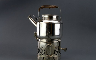 Edwardian Kettle on Stand with Spirit Burner - Silver, Silver plated - Drew & Sons, London - England - 1902
