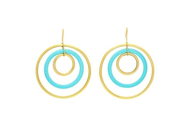 FARAONE MENNELLA, YELLOW GOLD AND TURQUOISE EARRINGS