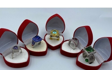 """Five Boxed Dress Rings Marked """"925"""" with Gems in Various Siz..."""