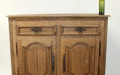 French Louis XIV bleached oak 2 door buffet bas