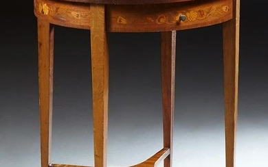 French Louis XVI Style Marquetry Inlaid Mahogany