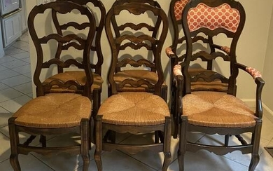 French Provincial Balloon Back Rush Dining Chairs
