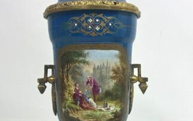 French Style Bronze and Painted Porcelain Urn. Decorat