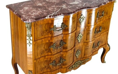 French-Style Burl Walnut Commode
